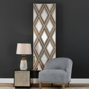 "Tahira - 72"" Geometric Argyle Pattern Wall Mirror"