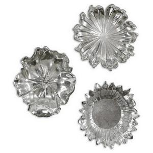 "Silver Flowers - 12"" Wall Art (Set of 3)"