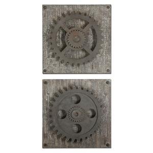 "Rustic Gears - 17"" Wall Art (Set of 2)"