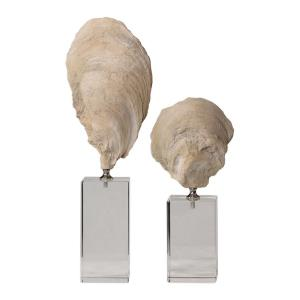 Oyster - 15.25 inch Shell Sculpture (Set of 2)
