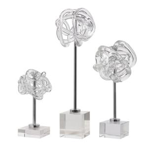Neuron - 16.75 Inch Glass Table Top Sculpture (Set of 3) - 4.5 inches wide by 4.5 inches deep