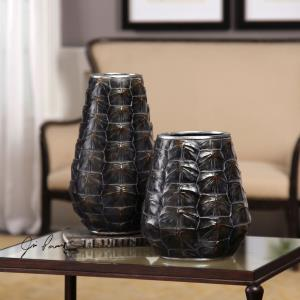 Kapil - 14 inch Tortoise Shell Vase (Set of 2) - 8.13 inches wide by 8 inches deep