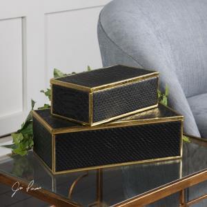 Ukti - 11.75 inch Alligator Patterned Box (Set of 2)