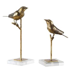 Passerines - 13.25 inch Bird Sculpture (Set of 2)