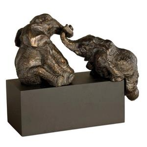 Playful Pachyderms - 16 inch Figurine - 16 inches wide by 7.75 inches deep