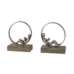 Lounging Reader - 9.75 inch Bookend (Set of 2)