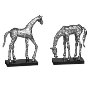 Let's Graze - 12 inch Horse Statue (Set of 2)