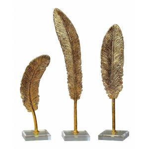 Feathers - 15.63 inch Sculpture (Set of 3) - 4 inches wide by 3.25 inches deep