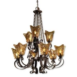 Vetraio Chandelier 9 Light Metal/Brass/Glass