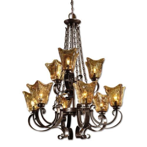 Uttermost 21005 Vetraio Chandelier 9 Light Metal/Brass/Glass