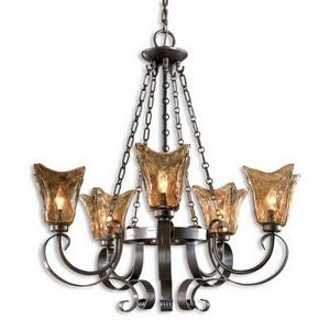 Vetraio Chandelier 5 Light Metal/Brass/Glass