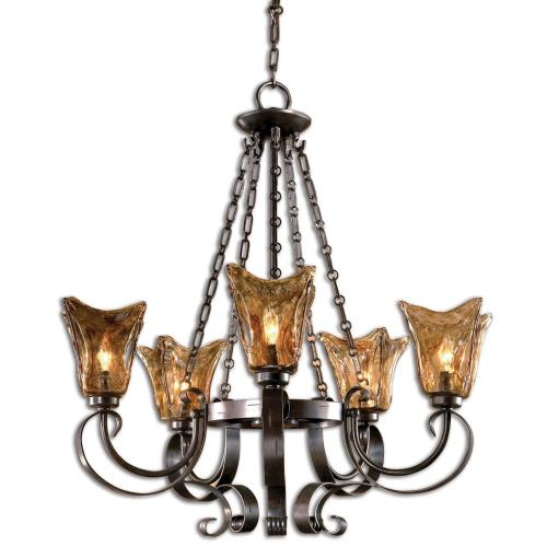 Uttermost 21007 Vetraio Chandelier 5 Light Metal/Brass/Glass