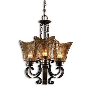 Vetraio Chandelier 3 Light Brass/Metal/Glass