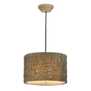 Knotted Rattan - Three Light Drum Pendant