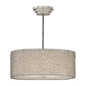 Brandon Drum Pendant 3 Light Silver Champagne Fabric - 22 inches wide by  inches deep