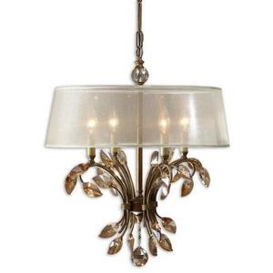 Alenya Chandelier 4 Light Metal/Crystal/Fabric Silken Champagne Sheer Fabric