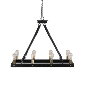 Marlow Rectangle Chandelier 8 Light Metal/Leather