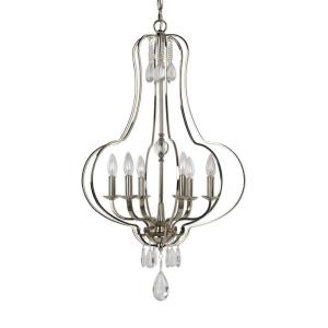 Genie Chandelier 6 Light Steel/Glass  - 22 inches wide by 22 inches deep