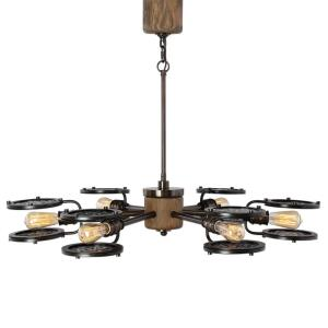 Gavia Chandelier 6 Light Metal/Glass/Wood