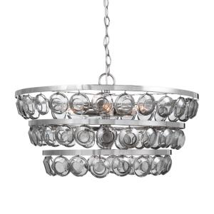 Twinkle Chandelier 5 Light Steel/Glass  - 22 inches wide by 22 inches deep