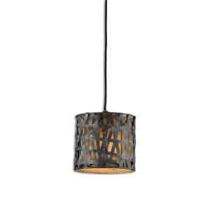 Alita Mini Drum Pendant 1 Light Silken Bronze Fabric