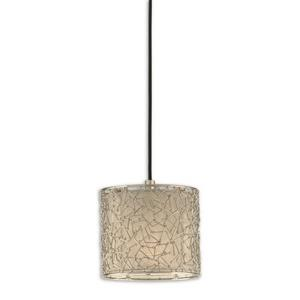 Brandon Mini Drum Pendant 1 Light Silver Champagne Fabric - 8 inches wide by  inches deep