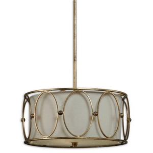 Ovala Drum Pendant 3 Light Beige Linen Fabric