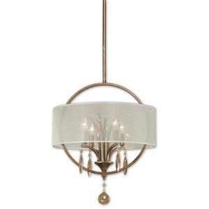 Alenya Drum Pendant 4 Light Silken Champagne Sheer Fabric - 17.75 inches wide by  inches deep