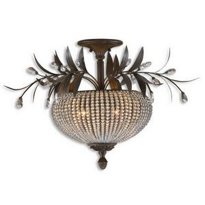 Cristal De Lisbon - 3 Light Semi-Flush Mount