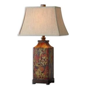 Colorful Flowers - One Light Table Lamp