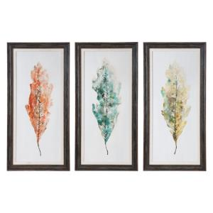Tricolor Leaves - 54.75 inch Abstract Art (Set of 3) - 26.75 inches wide by 1.38 inches deep