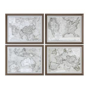 World Maps - 28.13 inch Framed Print (Set of 4) - 28.13 inches wide by 1.75 inches deep