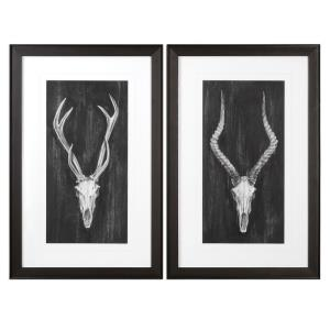 Rustic European Mounts - 34.13 inch Print Art (Set of 2) - 22.13 inches wide by 1.13 inches deep