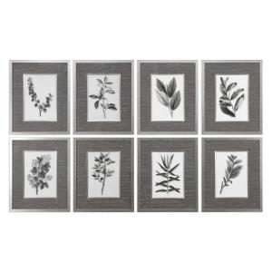"Sepia Gray Leaves - 22.63"" Decorative Wall Art (Set of 8)"