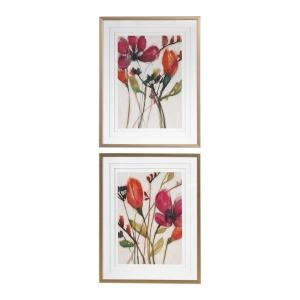 Vivid Arrangement - 38.5 inch Floral Print (Set of 2) - 30.5 inches wide by 2.25 inches deep