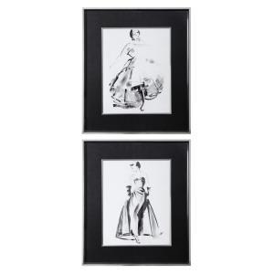 """Vintage Costume - 29.13"""" Sketch Framed Print (Set of 2)"""