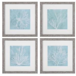 Seaweed On Aqua - 25 inch Framed Print (Set of 4)