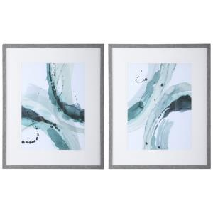 Depth - 33.5 inch Abstract Watercolor Print (Set of 2)