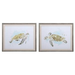Sea Turtle Study - 20.75 inch Watercolor Print (Set of 2) - 25.25 inches wide by 1.38 inches deep
