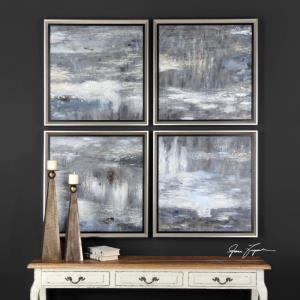Shades Of Gray - 33.25 inch Hand Painted Art (Set of 4) - 33.25 inches wide by 1.5 inches deep