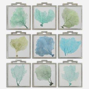 "Sea Fans - 19.25"" Framed Wall Art (Set of 9)"
