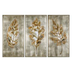 Champagne Leaves - 40.63 inch Modern Art (Set of 3)