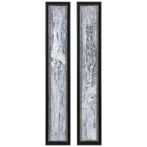 "Silver Lining - 46"" Textured Abstract Art (Set of 2)"