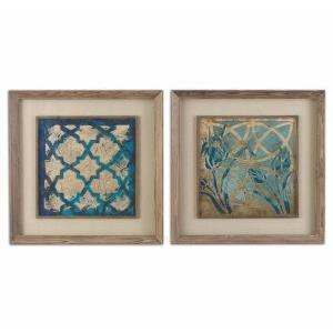 Stained Glass Indigo - 31.13 inch Framed Art (Set of 2) - 31.13 inches wide by 1.75 inches deep