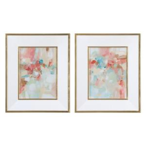 """A Touch of Blush and Rosewood Fences - 34"""" Decorative Wall Art (Set of 2)"""