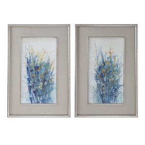 Indigo Florals - 41.5 inch Framed Art (Set of 2)