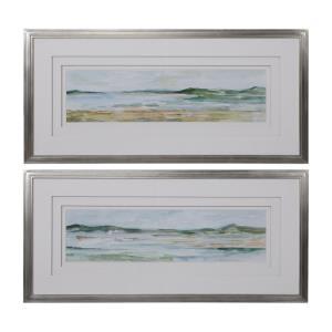 "Panoramic Seascape - 45.88"" Framed Print Seascape Art (Set of 2)"