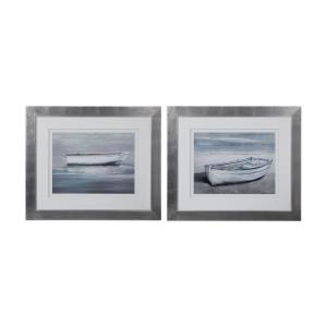 """Anchored By The Beach - 38.63"""" Framed Print Nautical Art (Set of 2)"""