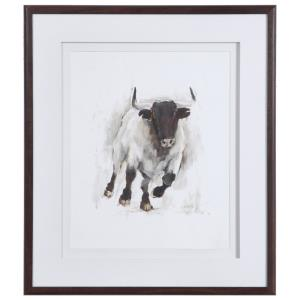 Rustic Bull - 31.5 inch Framed Animal Print