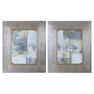 "Gilded Whimsy - 36.5"" Abstract Print (Set of 2)"